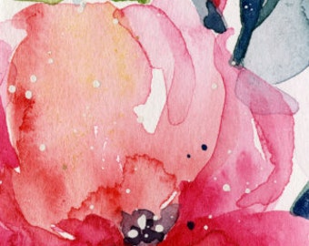 "Abstract Flower Watercolor Painting, Pink, Red, Poppy, Poppies, Tiny Small art ""Itsy Bitsy Blossoms 6"" by Kathy Morton Stanion EBSQ"
