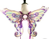 Baby Athena No.3 - Small Cellophane Fairy Wings in Purple and Peach Glitter