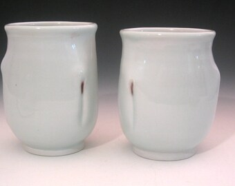 Two Virgins Handmade Cups Wheelthrown Porcelain Pottery PAIR Tumblers Adult only