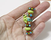 Handmade Glass Frog Bead With Small Set of Matching Lampwork Glass Beads For Jewelry Designs Handmade Supplies