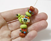 Clio the Handmade Glass Frog Bead With Small Set of Matching Lampwork Glass Beads For Jewelry Designs Handmade Supplies