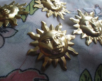 Serene Sunshine Extra Large Brass Sun Charms or Stamp Blanks 34mm 4 Pcs