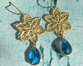 Blue Topaz Star or Snowflake Chandelier Earrings