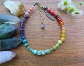 Rainbow Turquoise Crystal Gemstone Anklet -  Chakra - Healing - Multi Bohemian - Boho Gift - Feather Charm - Gypsy Free Spirit Bohemian
