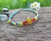 Earthy Bright Colorful Stone Anklet - Turquoise Green Orange - Bohemian Vacation Beach - Boho Free Spirit Festival Jewelry - Nature