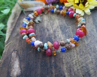 Sale - Crystal Double Wrap Bracelet - Elephant Peace Feather Hamsa - Boho Choker - Bohemian Free Spirited Jewelry - Gypsy Good Vibes