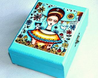 Large Jewelry Box, Frida Wood Box, Whimsical Wooden Box, Mexican Art, Ring Box, Frida Kahlo and Tuxedo Cat, Blue Teal Turquoise
