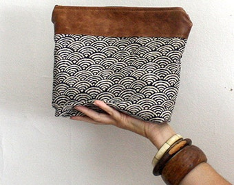 Indigo Print Pouch. Tribal Wristlet. Leather Wristlet Pouch. Gift under 50.