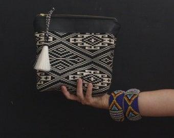 Black Tribal Print Pouch. Tribal Wristlet. Leather Wristlet Pouch.