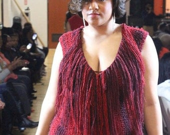 Red Fringed Crochet Dress - Plus size -Curvy Girl Collection