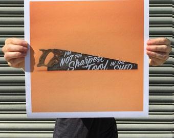 "Not the Sharpest Tool - digital art print 12""x12"""