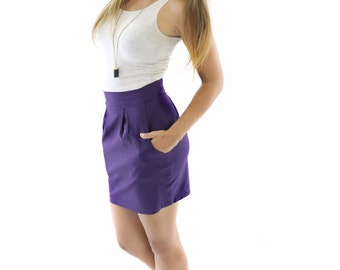 SALE Organic Cotton High Waist Skirt / Mini Skirt / Pleated Skirt / Mini Skirt with Pockets / Office Wear / Day Wear // Made in USA