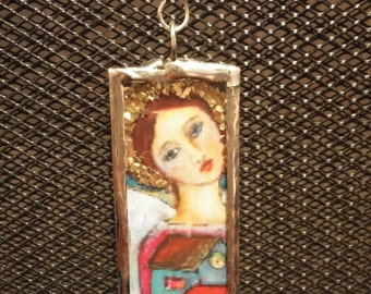 Angel Pendant Soldered Colorful Angels Necklace Charm  Reproduced Watercolor Angel by Artist Zorana