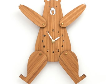 Kids wall clock, Bear, Nursery Decor, Posable Arms and Legs