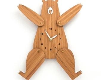 Wood wall clock, Bear, Nursery Decor, Posable Arms and Legs