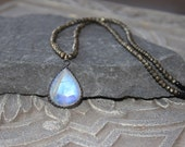 Rainbow Moonstone Pendant with pyrite  necklace, black choker  necklace, strung gemstone necklace