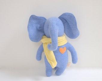 Handmade stuffed Elephant Small OOAK blue elephant doll eco toy upcycled Cashmere sweatersoft toy bubynoa Elifants