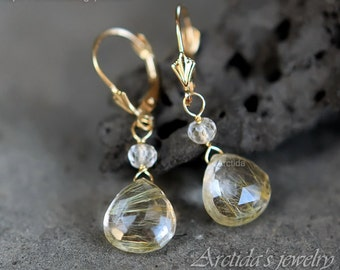 14K solid gold jewelry Golden Rutilated Quartz earrings - fine jewelry gold bridal earrings wedding jewelry rutile drop rusteam - Venus Hair