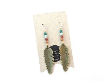 Feather Earrings // Long Feather Earrings // Boho Earrings // Festival Earrings // Long Earrings // Statement Earrings // Gifts For Women