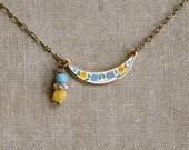 Vintage enamel bib necklace. flower,charm,boho jewelry. Tiedupmemories