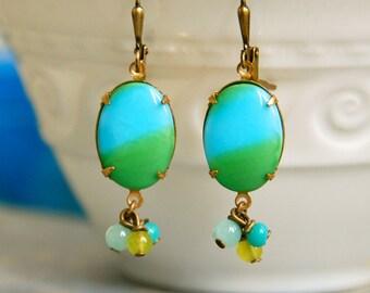 Turquoise and green cabochon dangle earrings/boho jewelry. Tiedupmemories