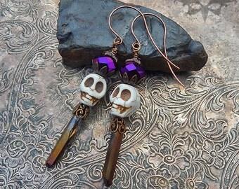 Sparkly Purple Sugar Skull Earrings With Quartz Crystal Dangles