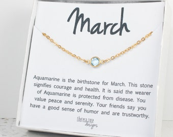 March Birthstone Swarovski Necklace, Swarovski Gold Necklace, March Birthstone Necklace, Aquamarine Gold Necklace, Birthstone Jewelry