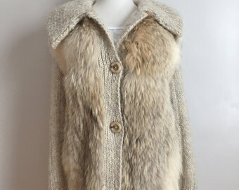 SALE - Margot - Beautiful Vintage Wool Cable Knit and Fur Coat.