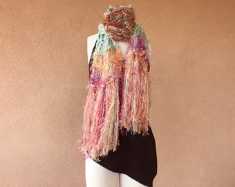 Southwestern Scarf Chunky Scarf Peach Rust Sage Green Pink Scarf, Hand Knit Southwest Sherbet at Sunset