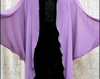 Wisteria - Softly Draping Ethereal Sheer Chiffon Art Deco Open Front Batwing Kimono Robe by Kambriel - Brand New & Ready to Ship!
