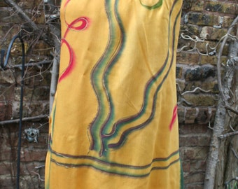 Mexican Mexico Rasta colors sarong dress fringe small medium yellow green red orange beach cover up