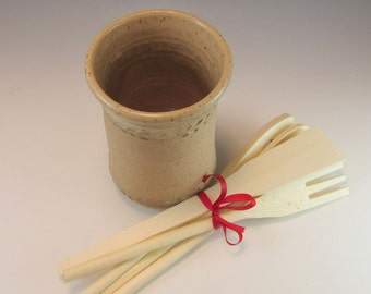 Hand Made Pottery Utensil Holder/ Pottery Vase/Tan Stoneware Vase