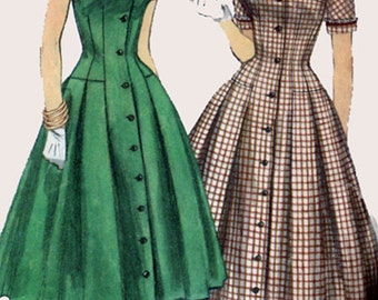 50s Full Skirted Dress w/ Fitted Wasit and Detachable Collar & Cuffs 1950s Vintage Sewing Pattern Size 12 Bust 30