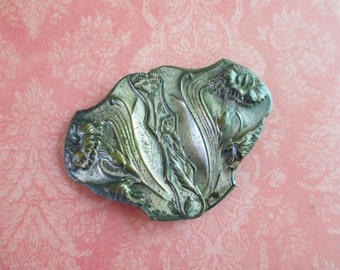 Vintage Silver Toned Art Deco Floral Belt Buckle