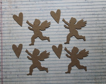4 Bare chipboard die cuts small Cupid with Heart 2 1/4 inches wide