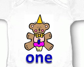 First 1st Birthday Baby Bodysuit Bear Candle One Boy Girl Blue Pink Yellow Gift