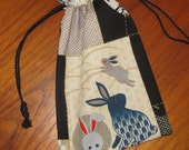 Japanese Rabbits Design Tiny Tote Pouch Purse Organizer