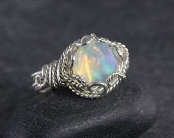 Opal Cab Wire Wrapped Ring