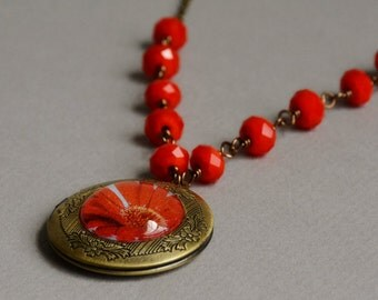 Red Daisy Photo Locket Necklace by Happy Shack Designs