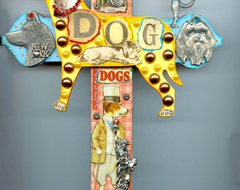 New York City Dog Canine Theme Wall Art Cross and Charms and Collectibles Mixed Media