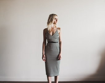 SAMPLE SALE Striped Lined Jersey V Neckline Dress with Leather waistband by Cleo and Clementine