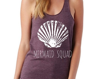 Mermaid Squad Ladies Heathered Tank Top Shirt screenprint Alternative Apparel