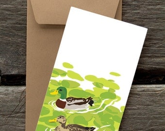 Mallards -- 8 blank flat cards and envelopes