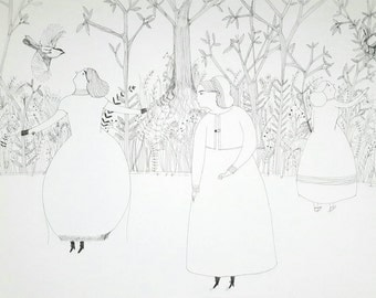 NEW YEAR SALE You clipped my wings - Original illustration on paper