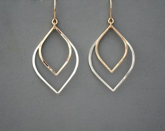 Mixed metal sterling silver and gold filled leaf earrings, Rachel Wilder Handmade Jewelry
