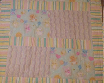 Cute baby animal pastel patchwork quilt blanket Toddler throw flannel Chenille Striped