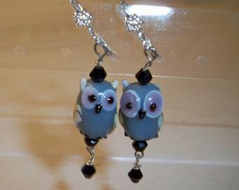 Gray Owl Earrings with Glass Owl Beads & Black Crystal Bead Dangles