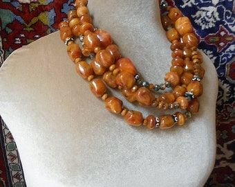 Over the Top amber statement necklace wraps up to 4X
