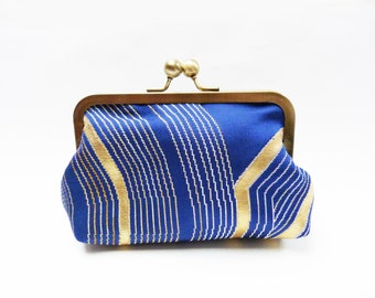 Clutch bag, blue and gold decorative evening purse