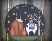 Large Round Fall Ornament Saltbox House-Sheep-Stars Home Decor Decoration